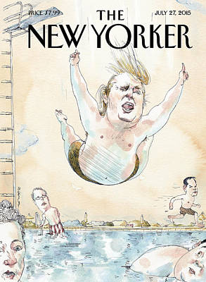 Republican Painting - Donald Trumps Belly Flops Into A Swimming Pool by Barry Blitt