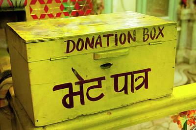 Hindi Photograph - Donation Box, Shree Laxmi Narihan Ji by Inger Hogstrom