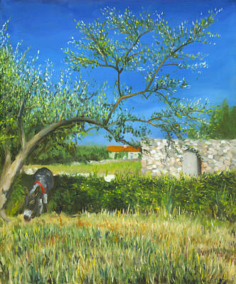 Donkey And Olive Tree Original by Joe Maracic
