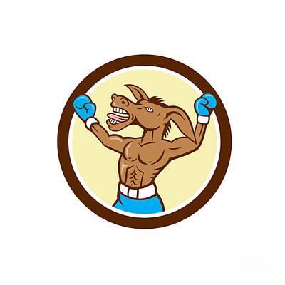 Donkey Boxing Celebrate Circle Cartoon Art Print by Aloysius Patrimonio