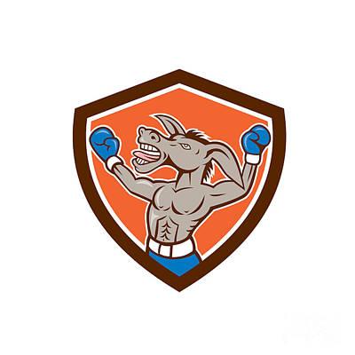 Boxer Digital Art - Donkey Boxing Celebrate Shield Cartoon by Aloysius Patrimonio
