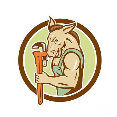 Donkey Digital Art - Donkey Plumber Monkey Wrench Circle Retro by Aloysius Patrimonio