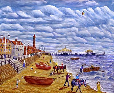 Donkey Rides On Blackpool Beach Art Print by Ronald Haber