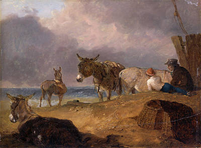 Sand Fences Painting - Donkeys And Figures On A Beach, Julius Caesar Ibbetson by Litz Collection
