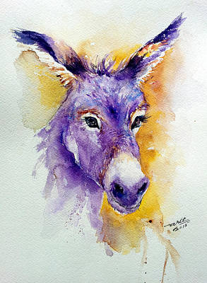 Donkey Watercolor Painting - Donkey's Ears by Arti Chauhan