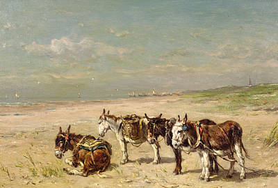 Donkey Painting - Donkeys On The Beach by Johannes Hubertus Leonardus de Haas