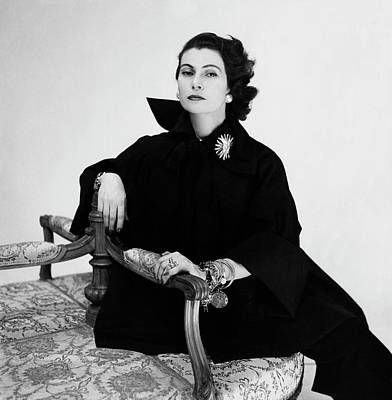 Earrings Photograph - Donna Simonetta Colonna Di Cesaro Wearing A Silk by Clifford Coffin