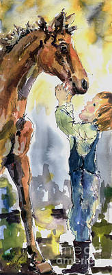 Girl Riding Horse Painting - Don't Be Afraid I Won't Let Them Hurt You by Ginette Callaway