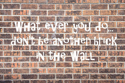 Photograph - Don't Be Another Brick In The Wall by James BO Insogna