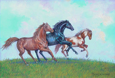 Sorrel Horse Painting - Don't Fence Me In by Tanja Ware
