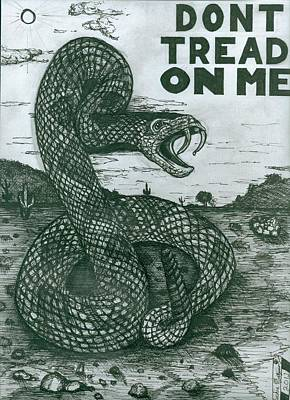 Drawing - Don't Tread On Me by Richie Montgomery