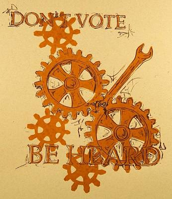 Lino Mixed Media - Don't Vote by David Honaker