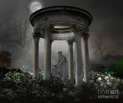 Don't Wake Up My Sleepy White Roses - Moonlight Version Art Print
