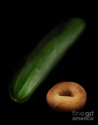 Donut And Cucumber Art Print