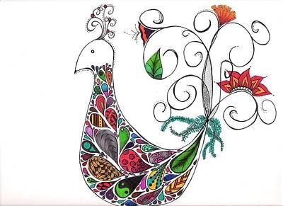 Doodle Bird Art Print by Lori Thompson