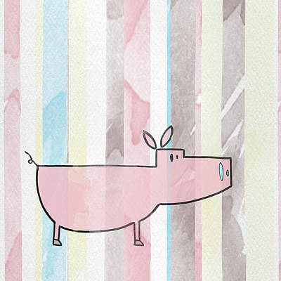 Pig Mixed Media - Doodle Farm On Watercolor II by Shelley Lake