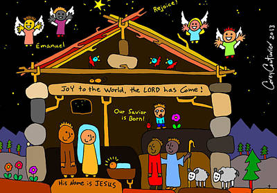 Nativity Digital Art - Doodle Nativity by Corey Couturier