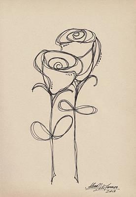 Drawing - Doodle Roses by Alena Nikifarava