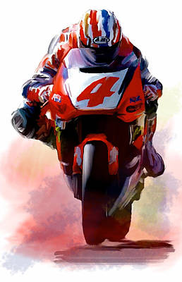 Iconic Painting - Doohan II Mick Doohan by Iconic Images Art Gallery David Pucciarelli