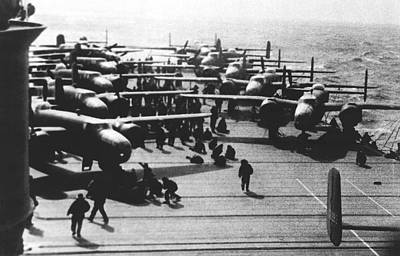 Hornets Photograph - Doolittle's Raider Planes by Underwood Archives