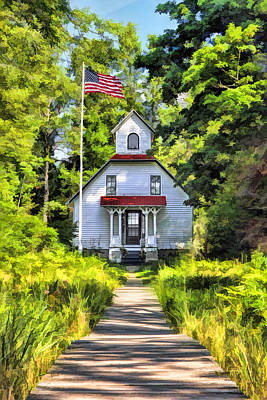 Boardwalk Painting - Door County Baileys Harbor Upper Range Lighthouse by Christopher Arndt