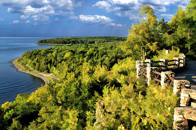 Bluff Painting - Door County Peninsula State Park Svens Bluff Overlook by Christopher Arndt