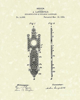 Drawing - Door Decal 1884 Patent Art by Prior Art Design