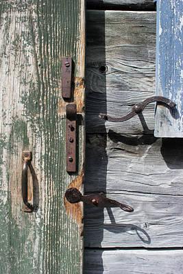 Photograph - Door Hardware Green Door by Mary Bedy