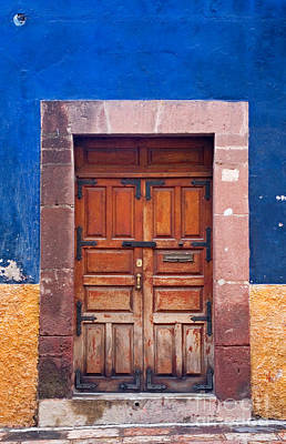 Door In Blue And Yellow Wall Art Print by Oscar Gutierrez