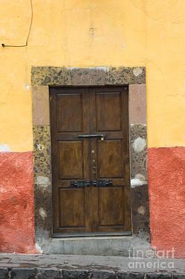 Mexico Photograph - Door In Colorful Wall by Oscar Gutierrez