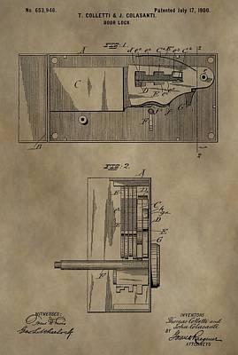 Door Lock Patent Art Print by Dan Sproul
