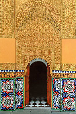 African Tiles Photograph - Door, Marrakech, 1998 Acrylic On Linen by Larry Smart