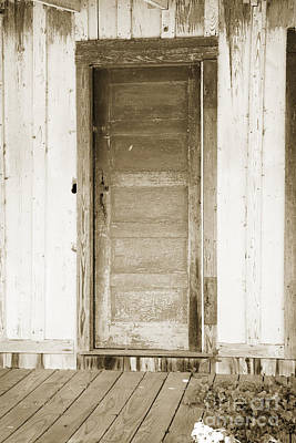 Photograph - Door On Old House In Sepia Black And White 3004.01 by M K Miller