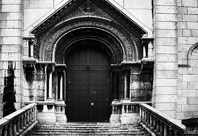 Sacre Coeur Photograph - Door To Sacre Coeur In Mono by Georgia Fowler