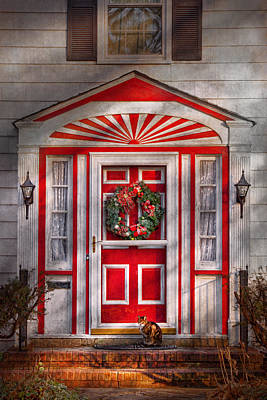 Photograph - Door - Winter - Christmas Kitty by Mike Savad