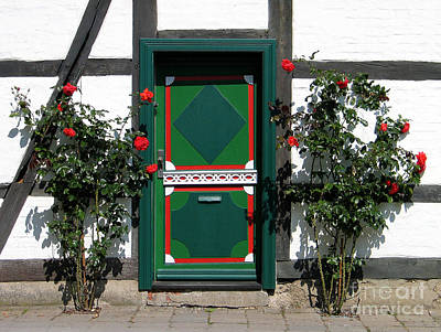 Traditionell Photograph - Door With Roses by Art Photography