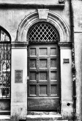 Lyon France Photograph - Doors Of Old Lyon Bw by Mel Steinhauer
