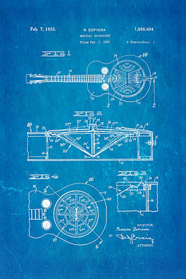 Dopyera Dobro Guitar Patent Art 1933 Blueprint Art Print by Ian Monk