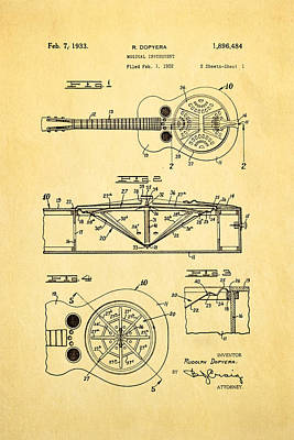 Celebrities Photograph - Dopyera Dobro Guitar Patent Art 1933 by Ian Monk