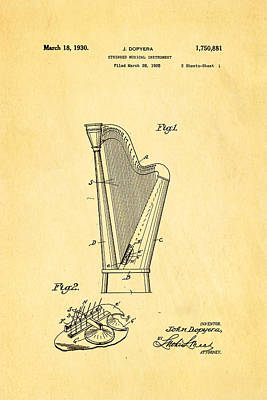 Photograph - Dopyera Harp Patent Art 1930 by Ian Monk