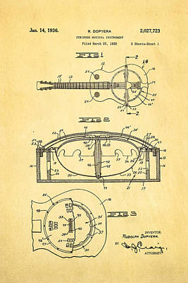 Resonator Photograph - Dopyera Resonator Guitar Patent Art 1936 by Ian Monk