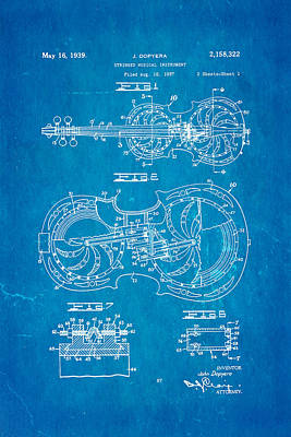 Resonator Photograph - Dopyera Resophonic Violin Patent Art 1939 Blueprint by Ian Monk