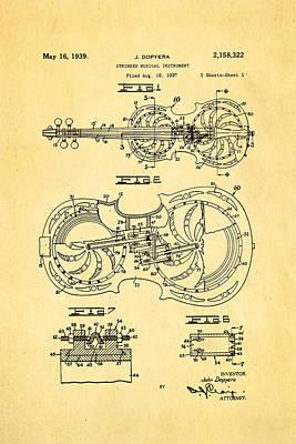 Dopyera Resophonic Violin Patent Art 1939 Art Print by Ian Monk