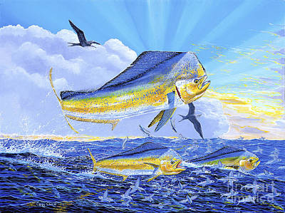 Fish Painting - Dorado Sunrise Off0098 by Carey Chen