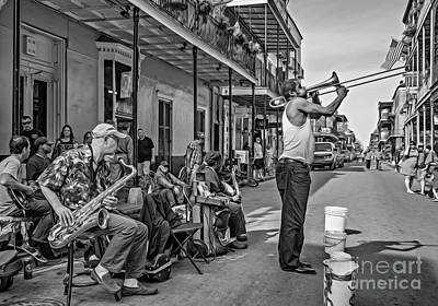 Clarinet Digital Art - Doreen's Jazz New Orleans - Oil Bw by Steve Harrington