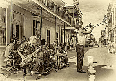 Doreen's Jazz New Orleans - Paint Bw Art Print by Steve Harrington