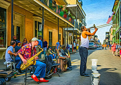 Trombone Digital Art - Doreen's Jazz New Orleans - Paint by Steve Harrington