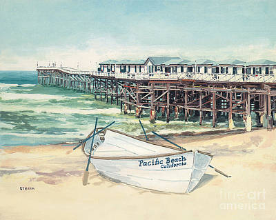 Pacific Beach Painting - Crystal Pier, Pacific Beach, San Diego, California by Paul Strahm