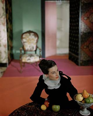 Healthy Food Photograph - Dorian Leigh Wearing A Mark Mooring Dress by Horst P. Horst