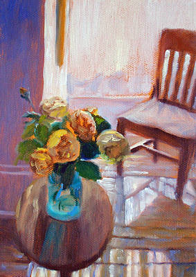 Dormer Light- Morning Light And Roses Original by Bonnie Mason